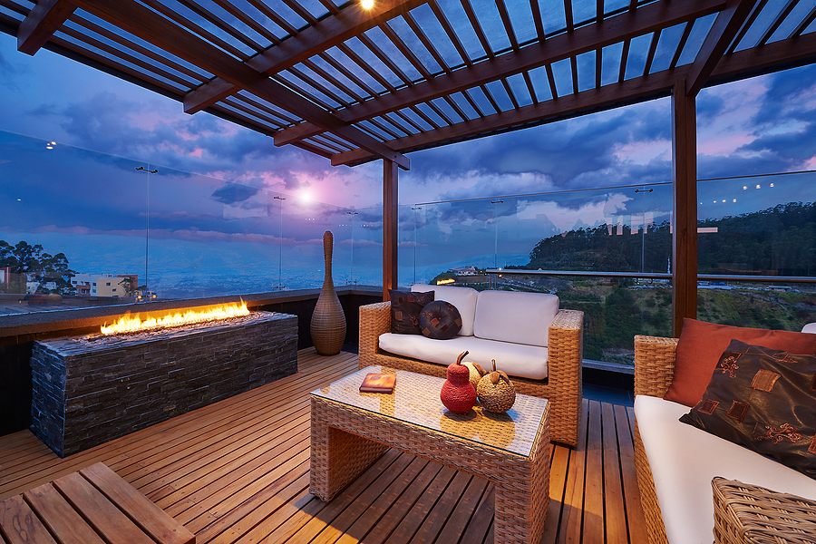 Beautiful terrace with bamboo decking