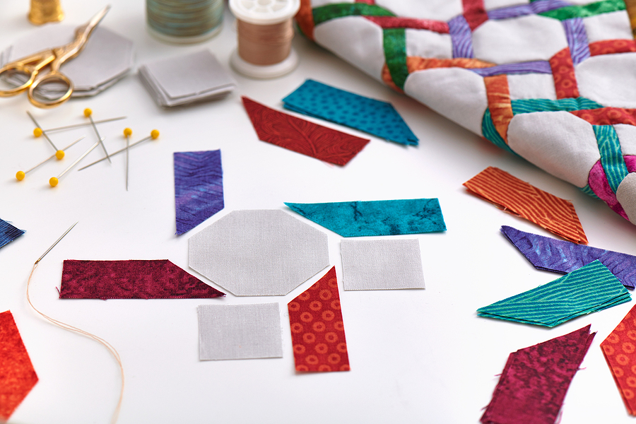 fabric pieces for a quilting and sewing